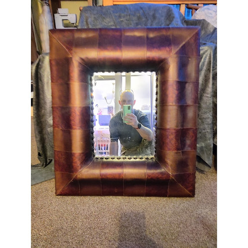 Leather Studded Mirror