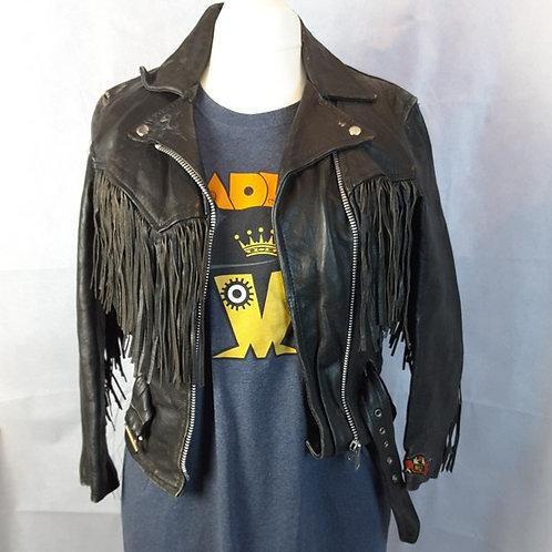 Ladies Biker Leather Jacket - MEDIUM