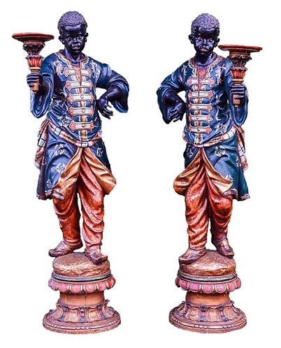 Fine Pair of 19th Century Venetian Blackamoor Torcheres