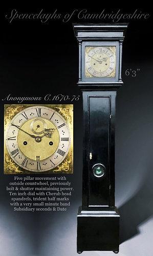 A very early ebonised Longcase clock