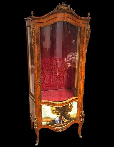 Louis XV style walnut and Kingwood serpentine vitrine