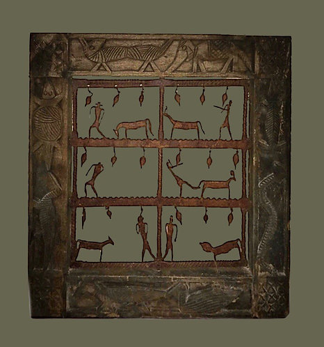 Early African hardwood frame with iron decoration