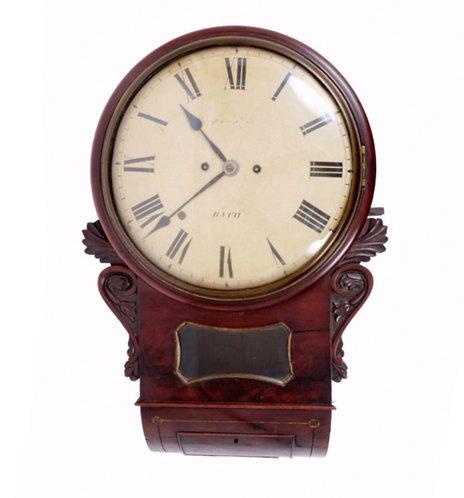 Twin Fusee Mahogany Wall Clock - Bath