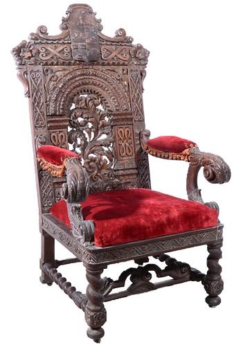 Iberian Carved Oak Throne Chair