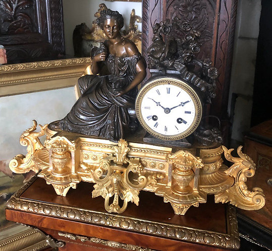 Japy Freres 8 Day Gilt & patinated Bronze Mantel Clock