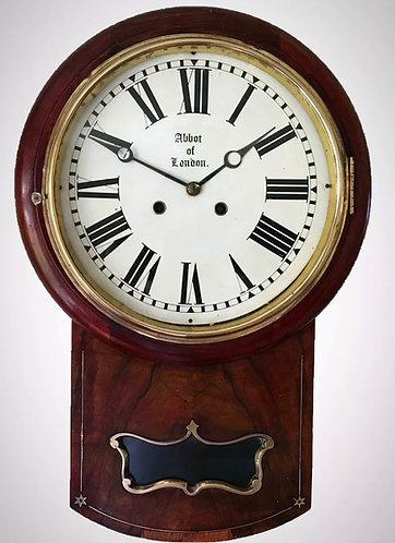 Austrian Mahogany and Walnut Double Fusee Drop Dial Wall Clock