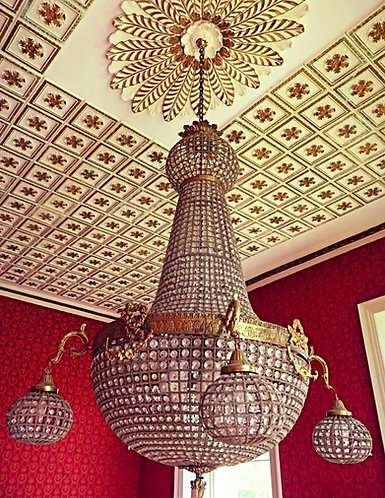 Huge French Gilt and Crystal Tent Bag Chandelier Late 19th Century Early 20th