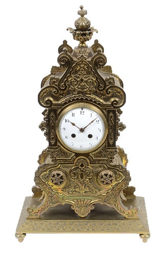 Gilt Brass 8-Day Mantle Clock on Plinth