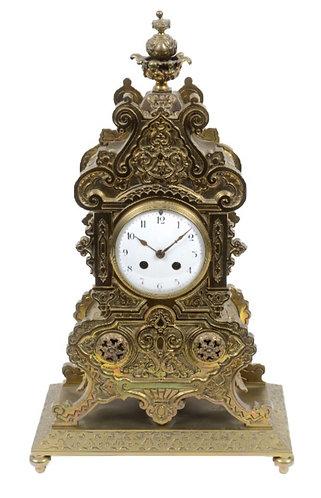 Gilt Brass 8-Day Mantle Clock on Plinth