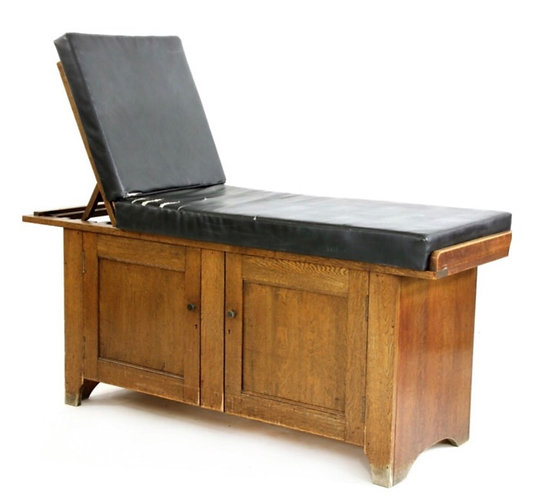 Edwardian Oak Consultation Bench with Panelled Doors