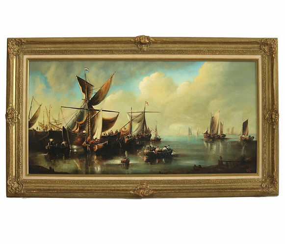 Norman Henry French aka Rima SHIPS IN A HARBOUR oil on canvas