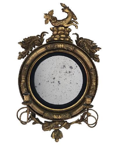 Regency Giltwood Convex Mirror Girandole
