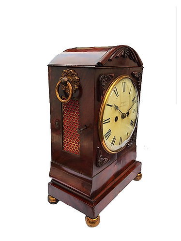 Good quality William IV Twin Fusee Mahogany Bracket Clock by Bright of Doncaster