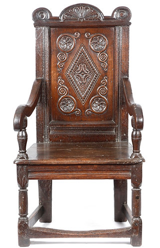 17th century oak panelled back armchair