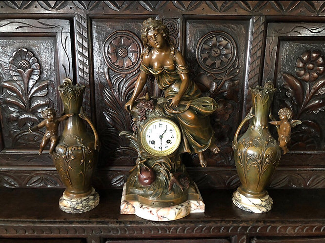 19th Century Bronzed patination Clock garniture by L & F Moreau