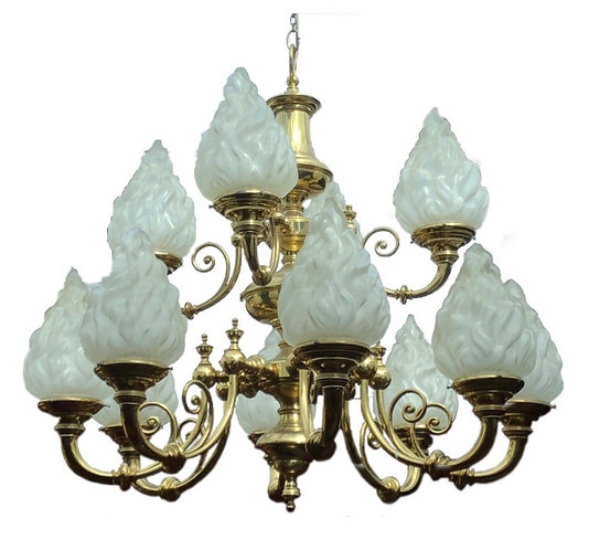 Very Large 12 Branch Chandelier with opaque flame shades
