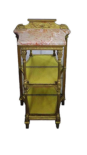 19th Century giltwood Mirror Backed Etagere
