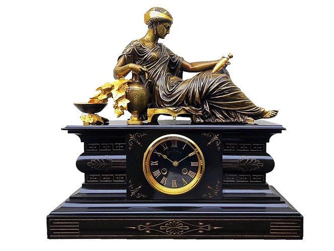 Fine Charpentier & Dewint Marble & Bronze Mantel Clock