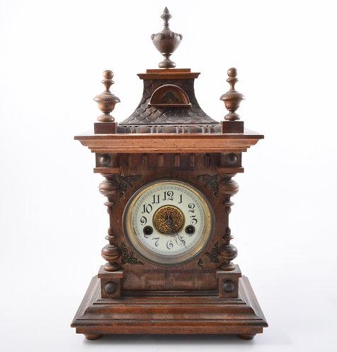 GERMAN SHELF CLOCK, CARVED FRUITWOOD CASE