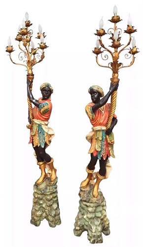 Pair of 20th Century Blackamoor Torcheres