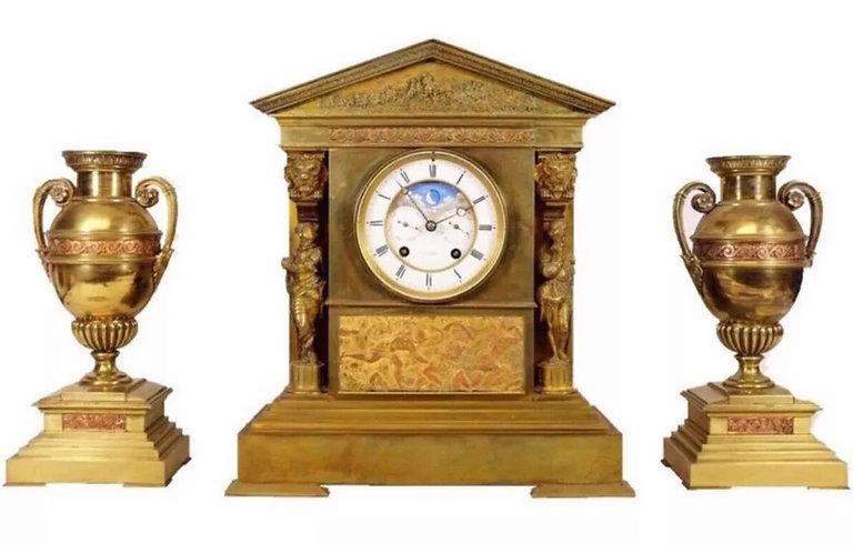 Fine Mantle Clock Garniture by Jean-Baptiste Delettrez & Achille Brocot