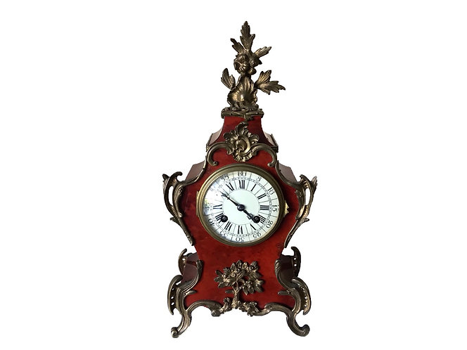 19th Century French Japy Freres tortoiseshell veneered mantel clock