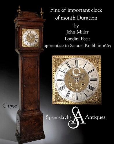 John Miller Month Duration Walnut cased Longcase Clock