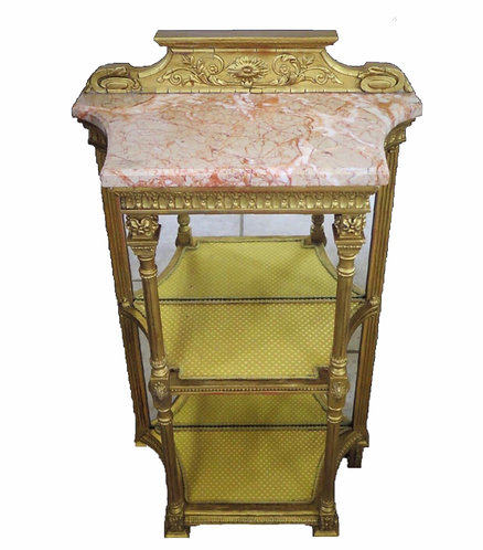 19th Century Gilt Etagere with Variegated Marble Top and Mirror back