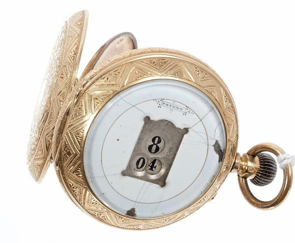 UNUSUAL EARLY 20TH CENTURY SWISS 'JUMP HOUR' FOB WATCH WITH BUTTON-WIND MOVEMENT