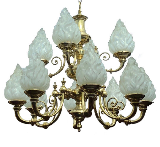 Superb Twelve branch Chandelier with original frosted shades