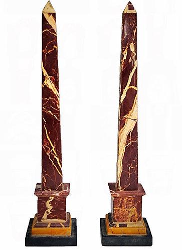 Superb pair of Grande Tour Variegated Marble Oblisks