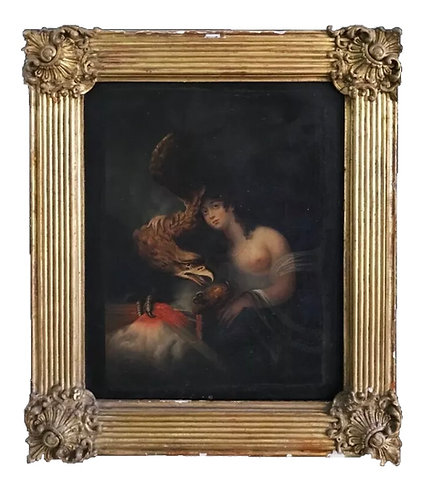Old Master Oil on Canvas Hebe After Francois Huet Villiers 19th Century