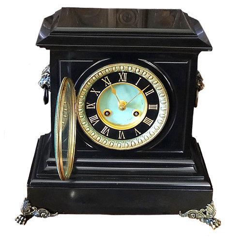 Superb Black Slate & Bronze Mantel Clock by Richard et Cie (Richard & Co.)