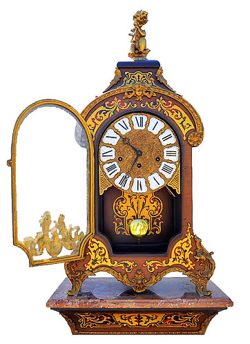 Triple Train Westminster Boulle Work Clock on Pedestal