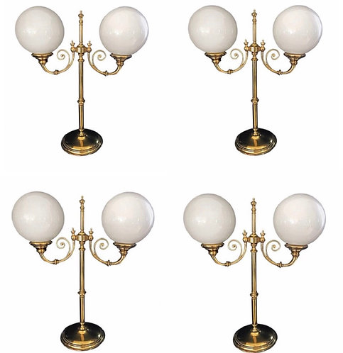 Set of Four Large Brass Gallery Lights