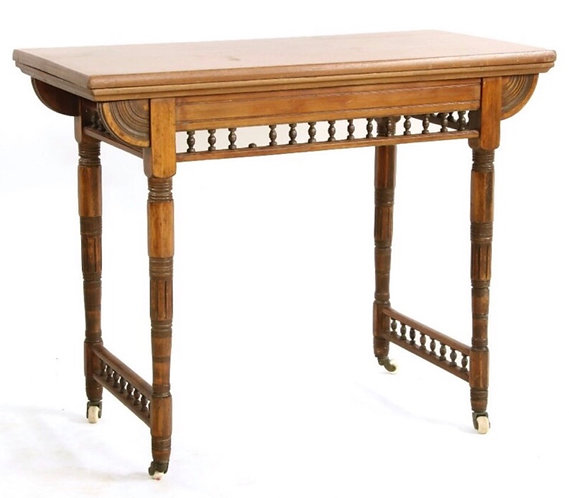 Victorian Aesthetic fold over card table, on turned supports
