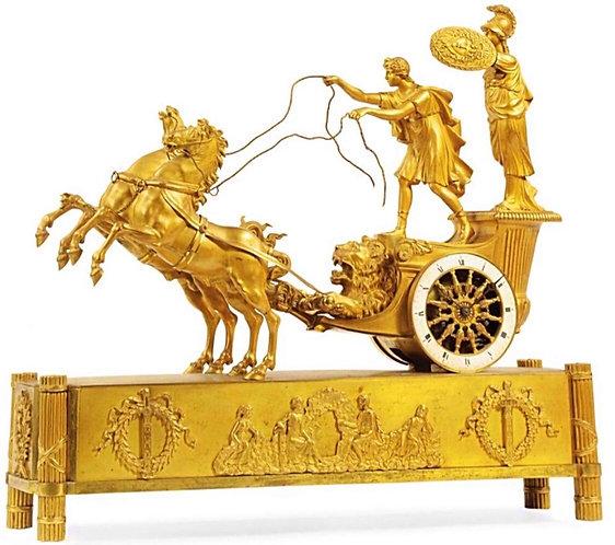 Fine Empire Ormolu Mantel Clock 'AU CHARIOT'