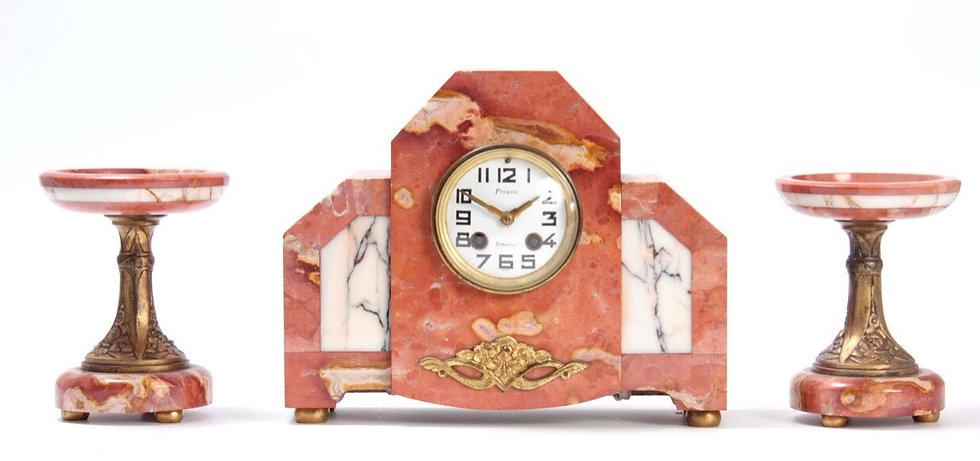 Pichon - Bordeaux 8 Day Art Deco Clock Garniture