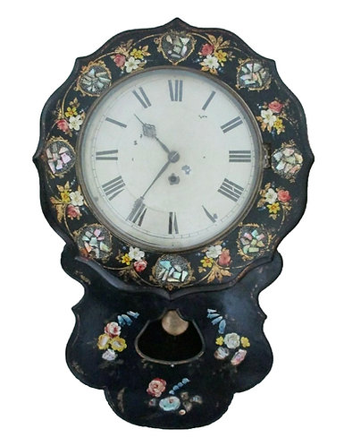Victorian papier mache drop dial painted wall clock with mother of pearl inlay
