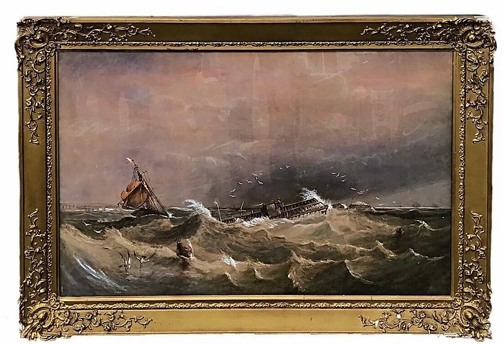 19th Century Large Framed and Glazed Maritime Watercolour Prison Ships at Sea