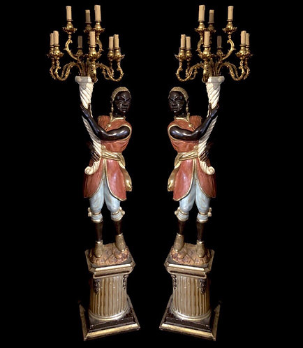 Pair of Carved mid 20th Century Blackamoor Torcheres