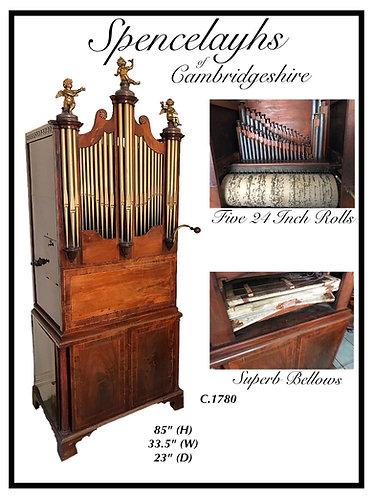 "Georgian Barrel Organ with Five 24"" Music Barrels and Song sheet"