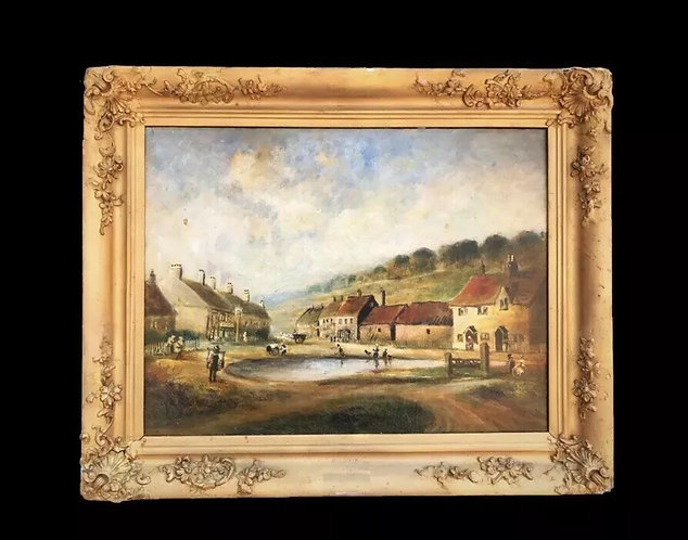"""Aldbury Herts 19th Century Oil Painting of """"The Stocks & Pond"""" at Stocks Road"""