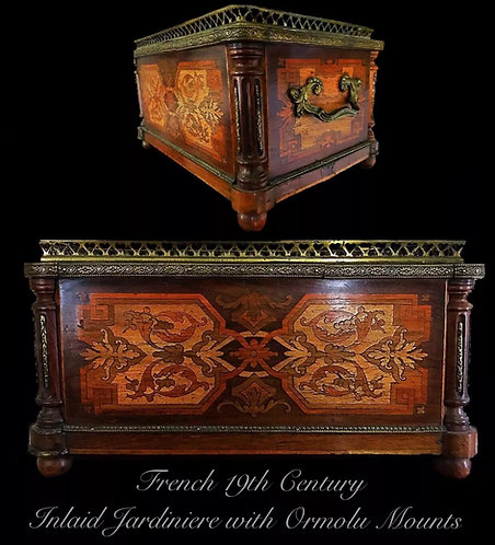 French 19th Century Inlaid Jardiniere With Ormolu Mounts with Original Liners