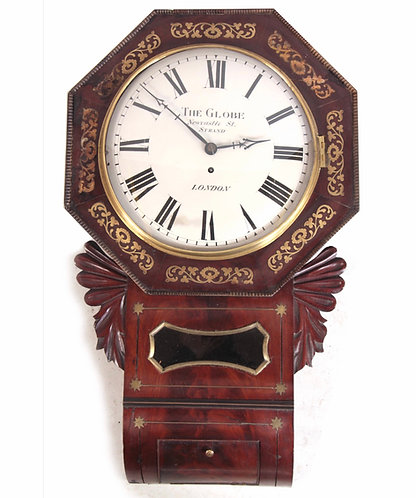 A REGENCY FLAMED MAHOGANY BRASS INLAID DROP DIAL FUSEE WALL DIAL CLOCK