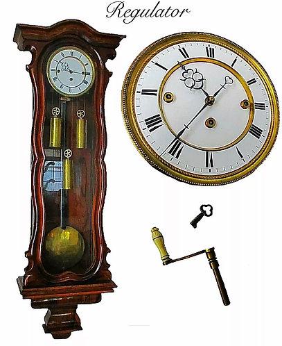 VICTORIAN ROSEWOOD TRIPLE WEIGHT GRANDE SONNERIE VIENNA REGULATOR WALL CLOCK