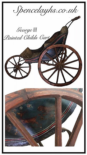 Mid 18th Century handpainted wooden child's cart