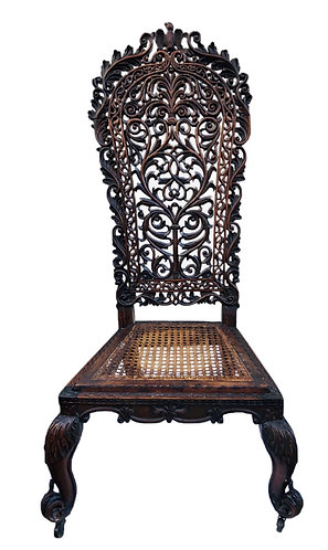19th century carved Rosewood Anglo Indian Chair