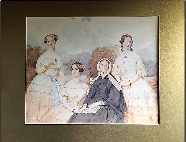 Superb Watercolour possibly depicting The Brontë Sisters