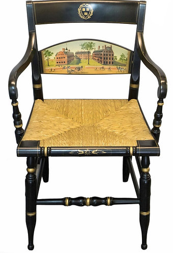 AN EBONISED AND GILT RUSH SEAT ARMCHAIR, PRESENTED TO SIR COLIN CORNESS